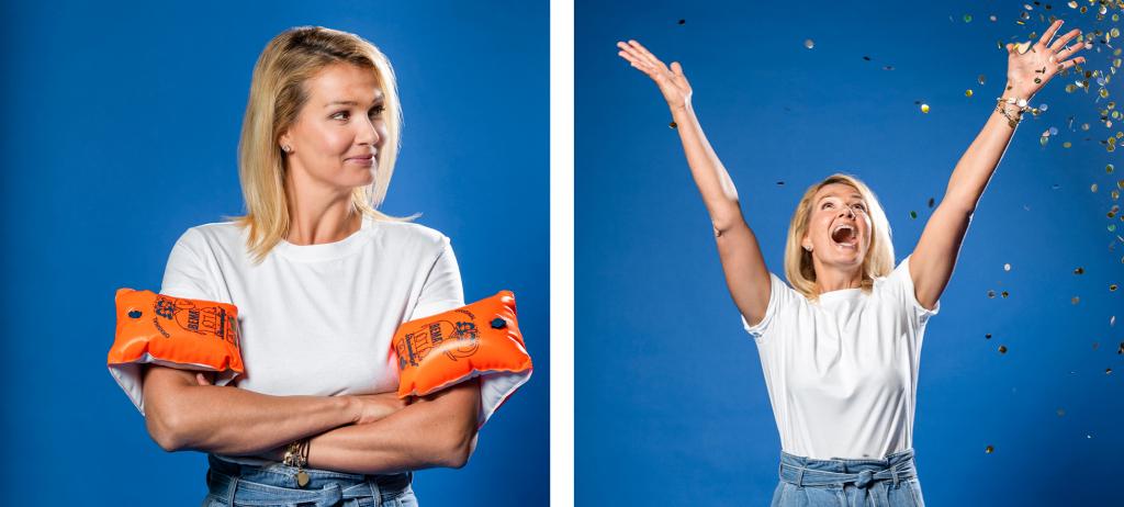 Beim Fototermin spielt Franziska van Almsick mit Schwimmflügeln und Rettungsringen. Unser Dankeschön: ein Goldregen