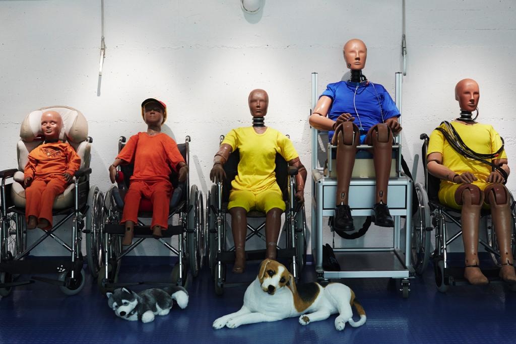 Die ganze Dummy-Familie – von Baby über Kleinkind bis zu den Erwachsenen – sind nebeneinander in einer Reihe auf Rollstühlen platziert. Vor ihnen sitzen zwei Dummy-Hunde.