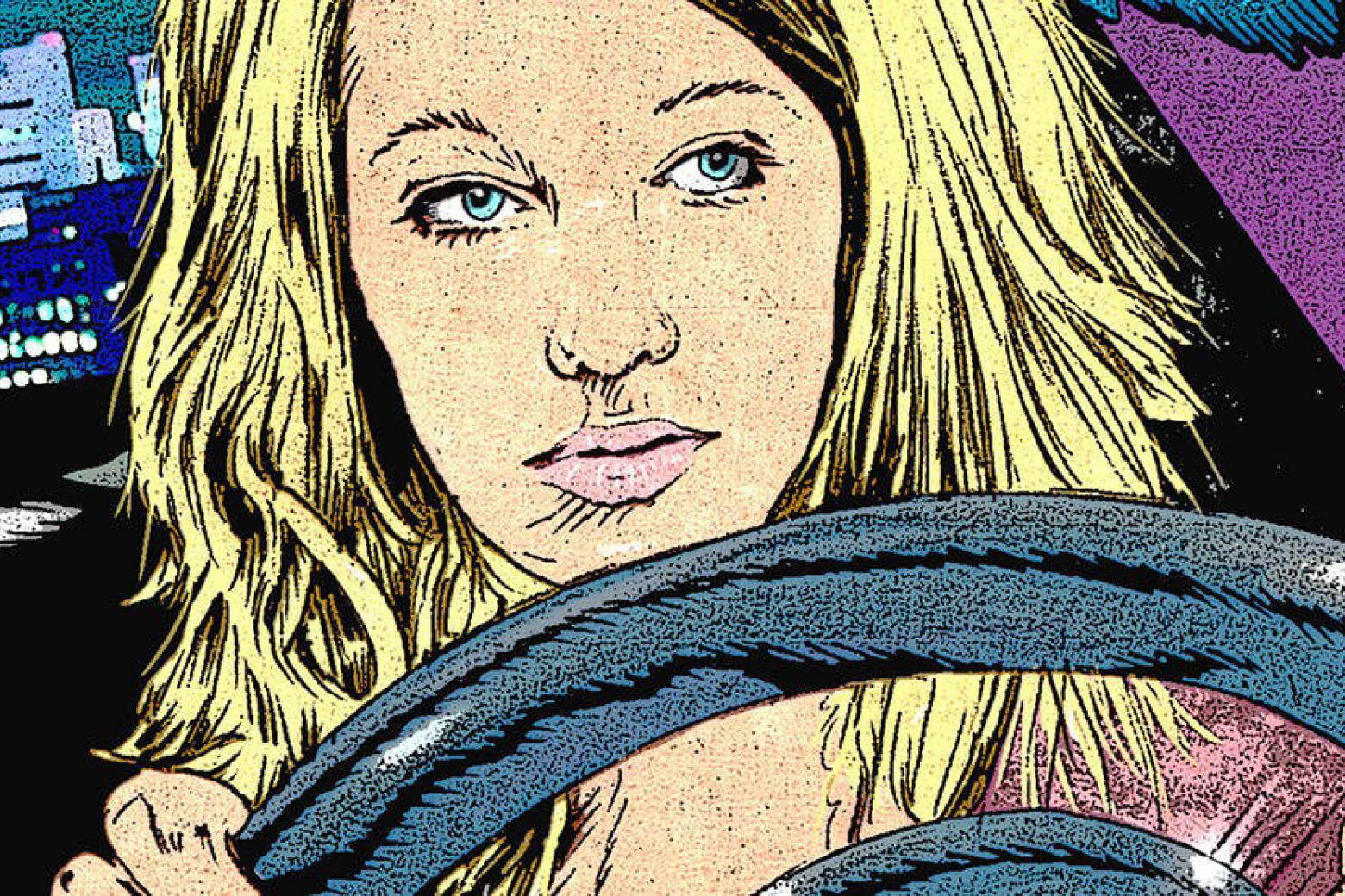 Eine blonde Frau, gezeichnet im Comic-Stil, sitzt hinter dem Steuer ihres Autos.