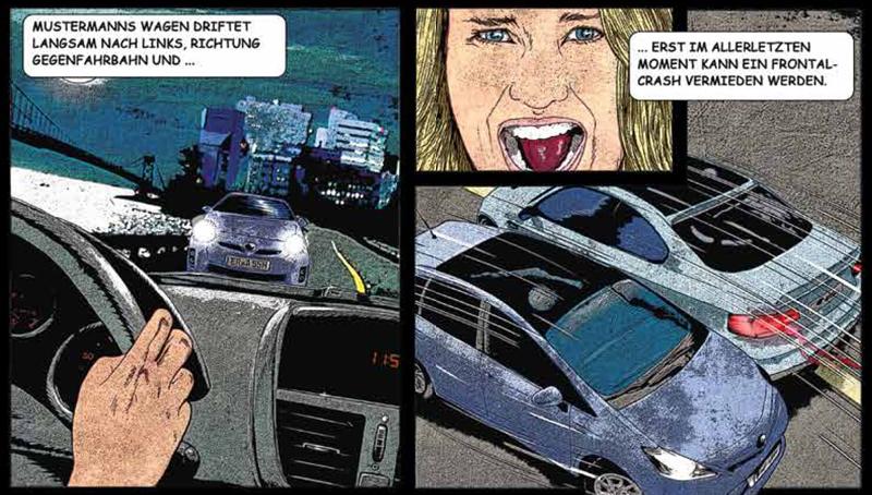 Eine im Comic-Stil gehaltene Bildreihe zeigt einen beinahen Frontal-Crash zweier Autos, der erst im letzten Moment durch ein Ausweichmanöver verhindert werden kann.